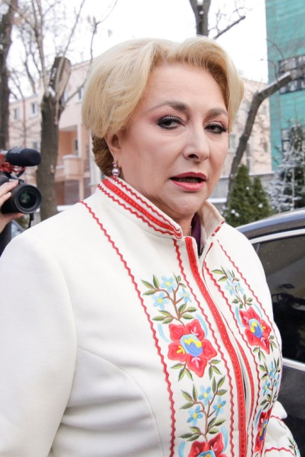 Romania's prime minister designate Viorica Dancila talks to media representatives in Bucharest