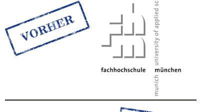 Neue Namen für Fachhochschulen: Altes und neues Logo der FH München: In Bayern gibt es inzwischen schon mehr Hochschul-Fachhochschulen als Fach-Fachhochschulen.
