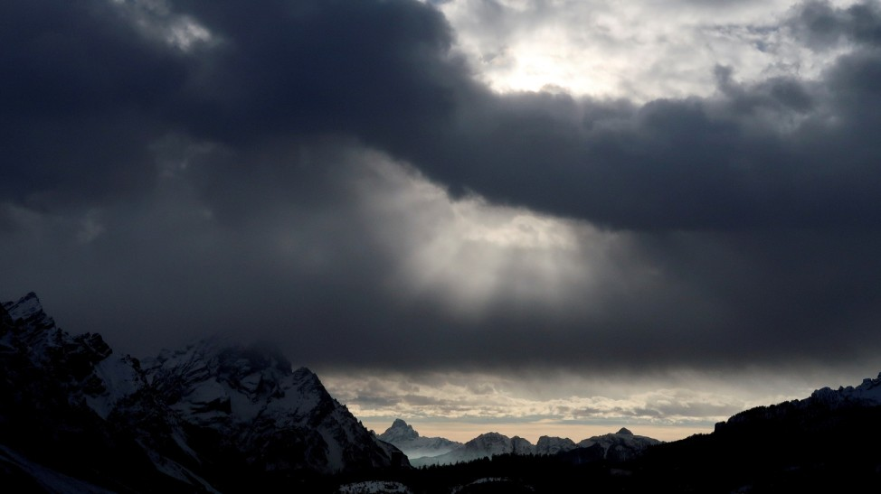 Clouds are seen over the Dolomite mountains around Cortina d'Ampezzo