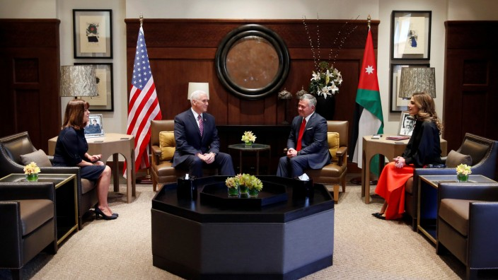 Jordan's King Abdullah, his wife Queen Rania, meet with U.S. Vice President Pence, and wife Karen, at the Royal Palace in Amman