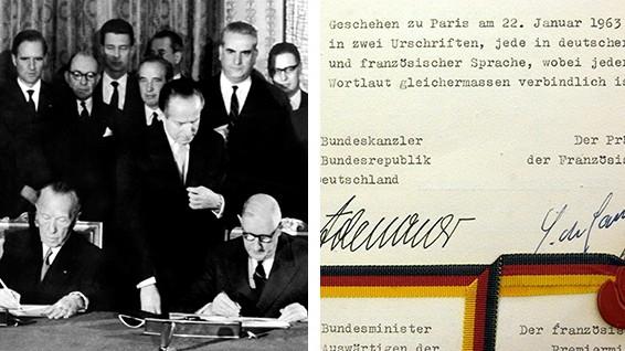 Neuer Élysée-Vertrag: Frankreichs Staatspräsident Charles de Gaulle (re.) und Bundeskanzler Konrad Adenauer unterzeichnen am 22.01.1963 in Paris den deutsch-französischen Freundschaftsvertrag.