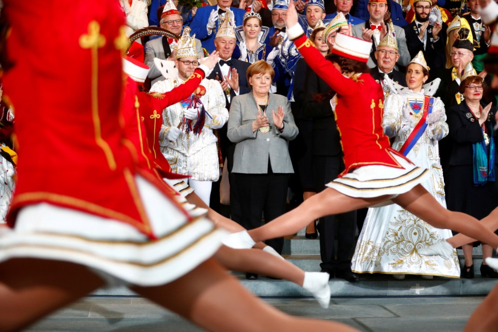 German Chancellor Angela Merkel attends a reception of German carnival societies at the Chancellery in Berlin