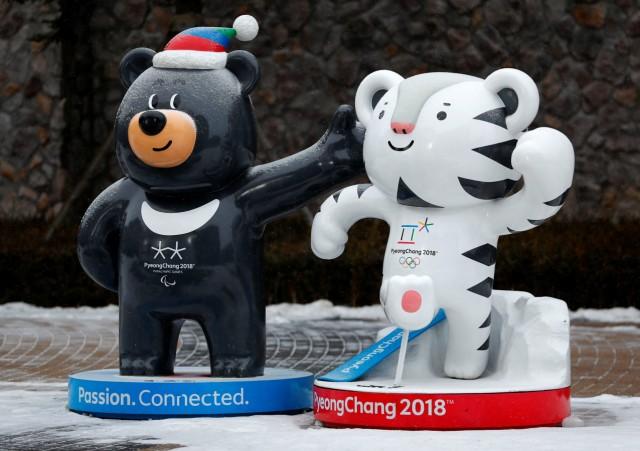 2018 Pyeongchang Winter Olympics mascot Soohorang and Paralympics mascot Bandabi are pictured in Pyeongchang