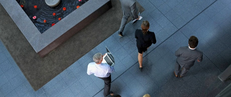 Top view of businesspeople walking through lobby model released Symbolfoto property released PUBLICA