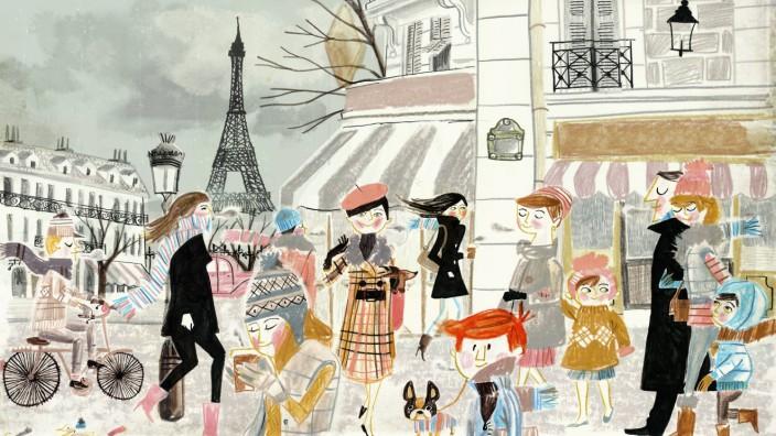 Menschen in der Nähe des Eiffelturms in Paris im Winter PUBLICATIONxINxGERxSUIxAUTxONLY LucianoxLoza
