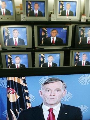 Horst Köhler hält eine Fernsehansprache. Foto: Reuters