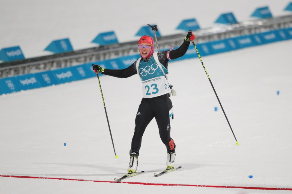 Biathlon - Winter Olympics Day 1; Laura Dahlmeier Ziel Olympia Sprint