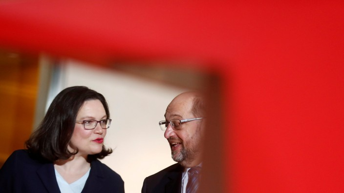 FILE PHOTO: Social Democratic Party (SPD) leader Schulz and incoming party leader Nahles arrive to a news conference at the party headquarters in Berlin