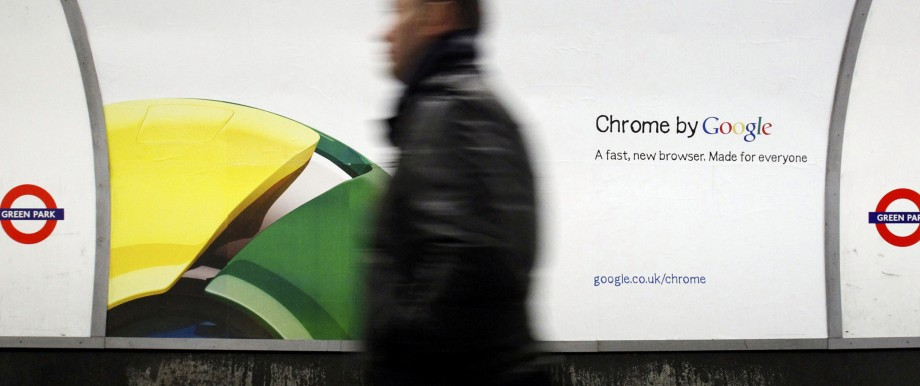 Google Chrome-Werbeposter in der Londoner U-Bahn.