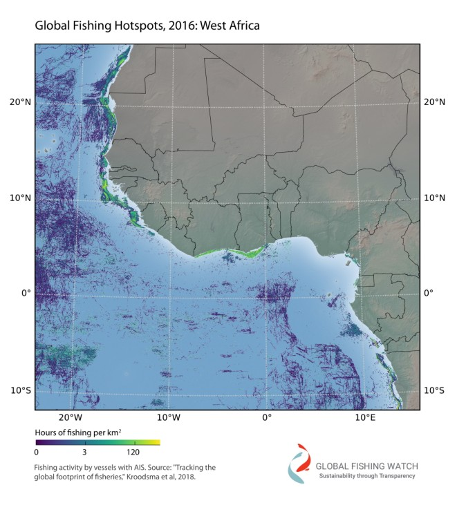 These high resolution zoomed-in maps provide detail of our fishing effort dataset at full resolution. Such high-resolution detail, down to the level of individual fishing vessels, is unprecedented in the study of global fisheries. Other regions are avai