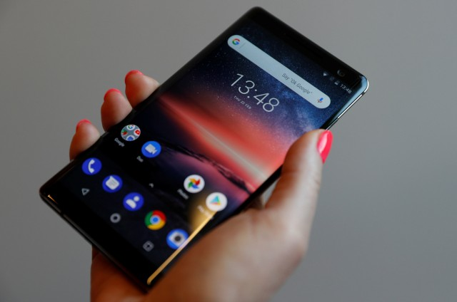 The Nokia 8 Sirocco Android smartphone is seen at a pre-launch event in London