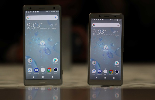 The  Sony Xperia XZ2 and compact version are seen on display during the Mobile World Congress in Barcelona