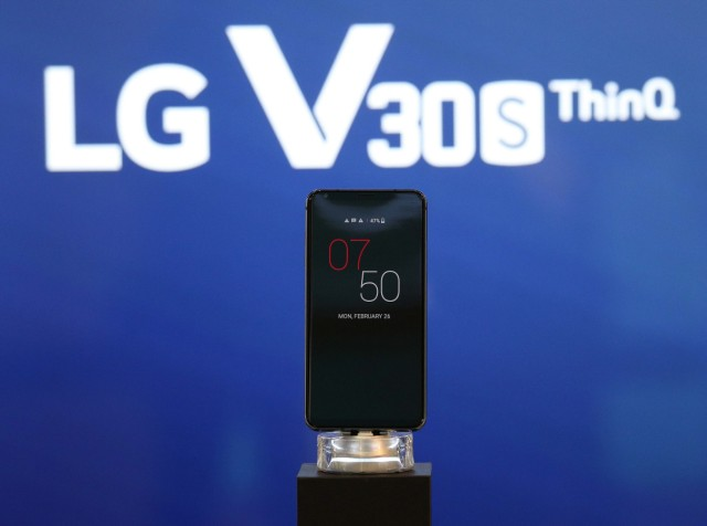 The LG V30S ThinQ is seen on display during the Mobile World Congress in Barcelona