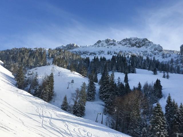 Wintersport an der Kampenwand in Oberbayern