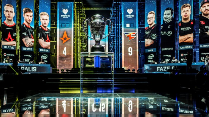 Trophy is pictured during the Intel Extreme Masters 2018 World Championships esports match in Katowice