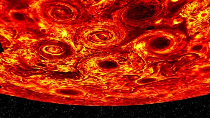 Die NASA-Raumsonde Juno fotografierte den Jupiter und entdeckte an den Polen riesige Wirbelstürme.
