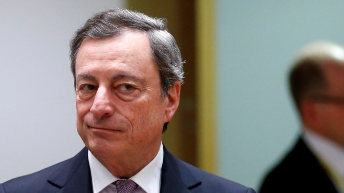 FILE PHOTO: ECB President Draghi attends a eurozone finance ministers meeting in Brussels