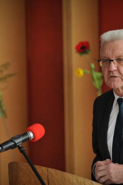 Trauerfeier: Ministerpräsident Winfried Kretschmann beschreibt Bergmann als Querdenker.