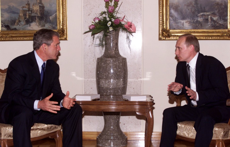 GEORGE W. BUSH TALKS WITH VLADIMIR PUTIN AT THEIR FIRST-EVER MEETING IN SLOVENIA