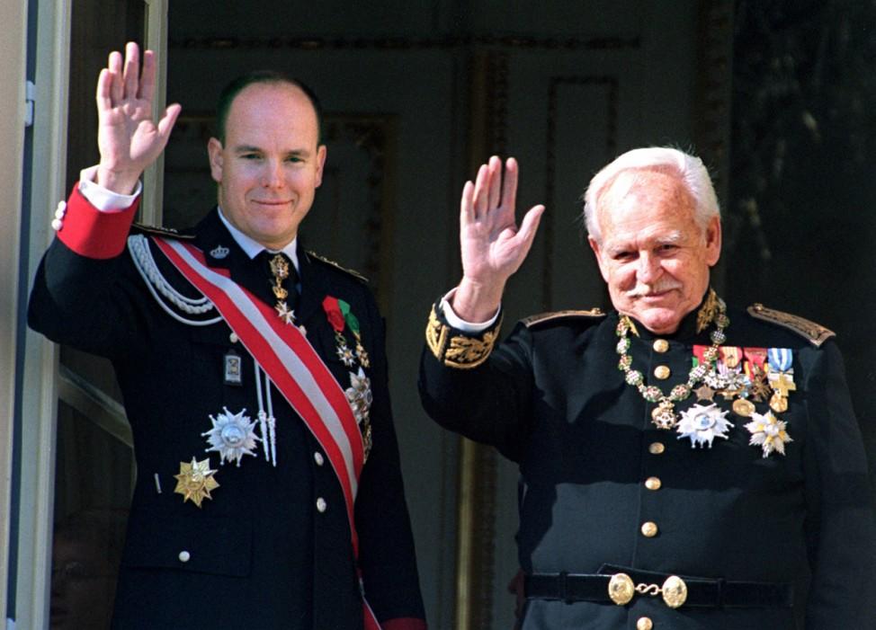 Monegassischer Fürst Rainier III. mit seinem Sohn Prinz Albert, 1998