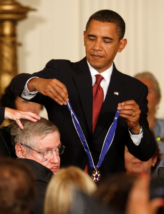 FILE PHOTO: U.S. President Obama presents the medal of freedom to Stephen Hawking in Washington
