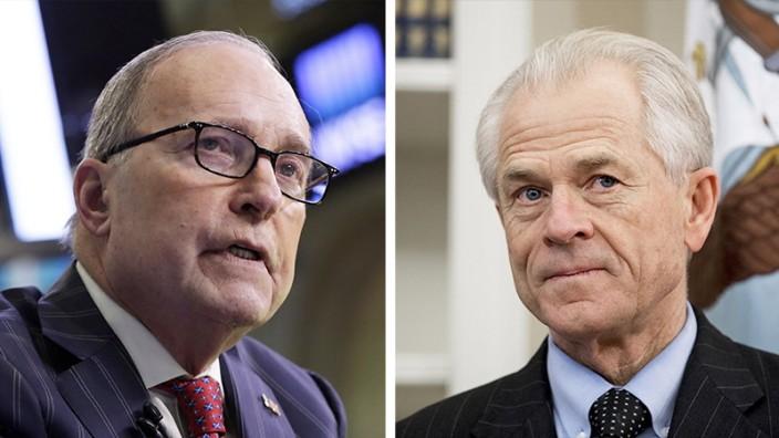US-Wirtschaftspolitik: Sie dürften Trumps protektionistischen Kurs weiter anheizen: Larry Kudlow (links) und Peter Navarro.