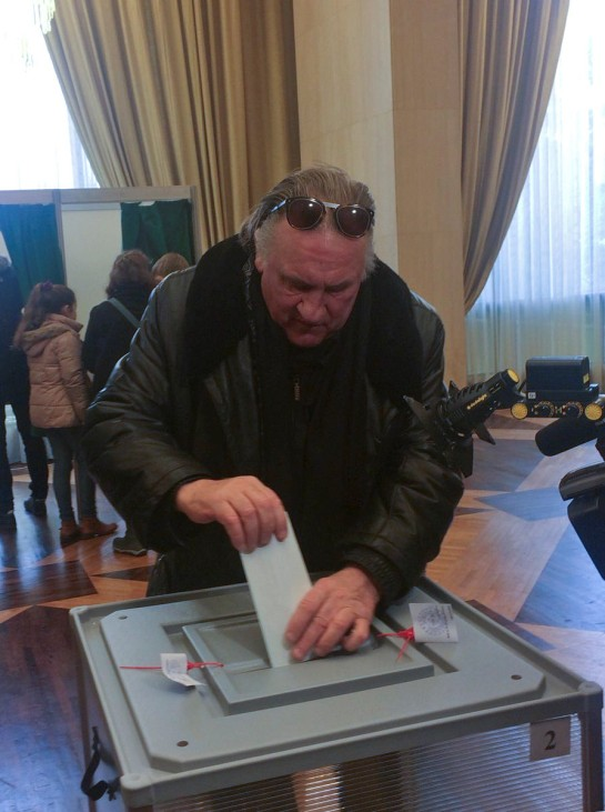Gerard Depardieu votes at the Embassy of Russia in Paris