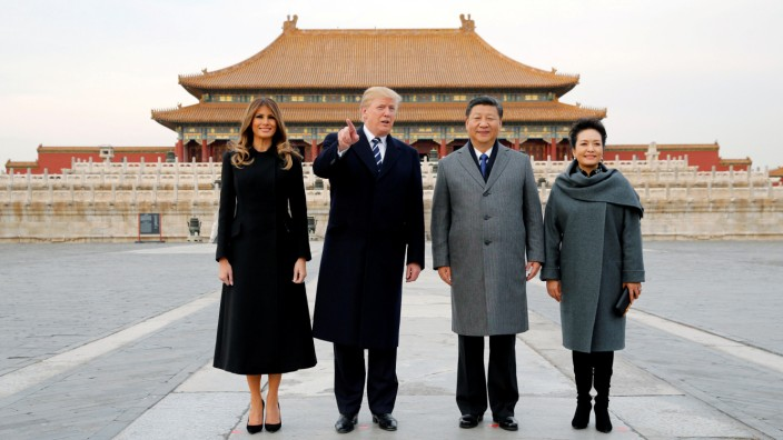 U.S. President Donald Trump and U.S. first lady Melania visit the Forbidden City with China's President Xi Jinping and China's First Lady Peng Liyuan in Beijing