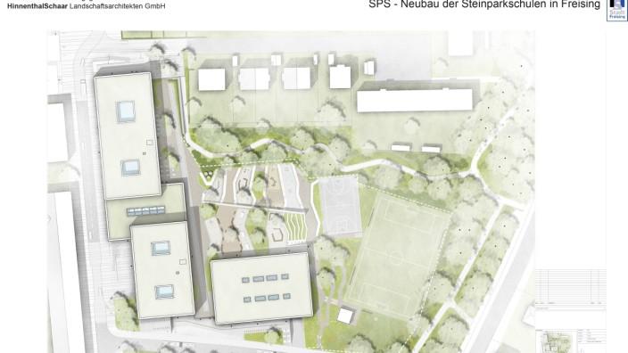 Pläne für die neue Schule im Steinpark in Freising