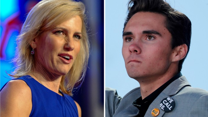 A combination of file photos show media personality Ingraham in Washington and student Hogg, at a rally in Washington