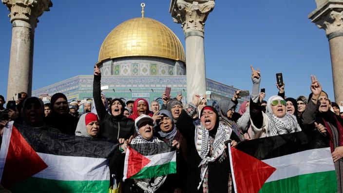 Demonstration vor der al-Aqsa-Moschee auf dem Tempelberg