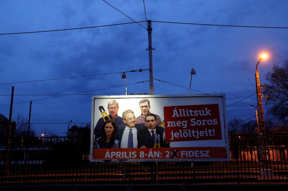 A government billboard shows Soros and opposition party leaders in Budapest