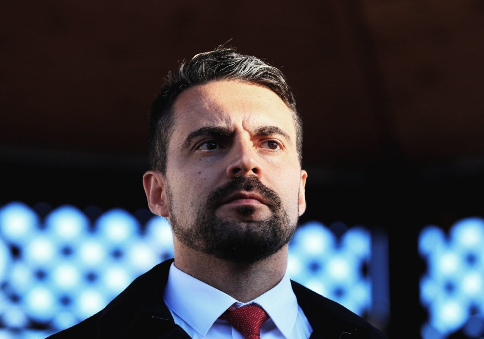Chairman of the Hungarian right wing opposition party Jobbik Gabor Vona attends a campaign forum in Nagykanizsa