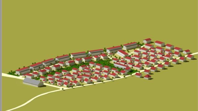 Allershausen: Hinter den Mahrfamilien- und Reihenhäusern sollen Einzel- und Doppelhäuser entstehen.