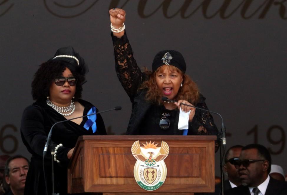 Daughters of Winnie Madikizela-Mandela, Zindzi Mandela and Zenani Dlamini Mandela, speak at their mother's funeral in Orlando stadium in Soweto