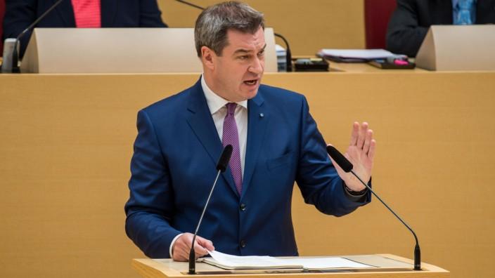 Sitzung des bayerischen Landtags mit Regierungserklärung