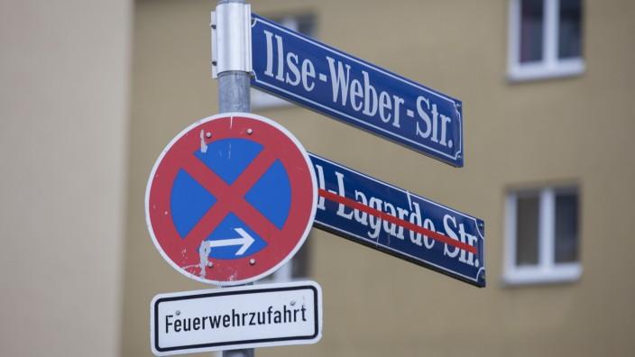 Ilse-Weber-Straße, die bis vor kurzem noch Paul-Lagarde-Straße hieß. München