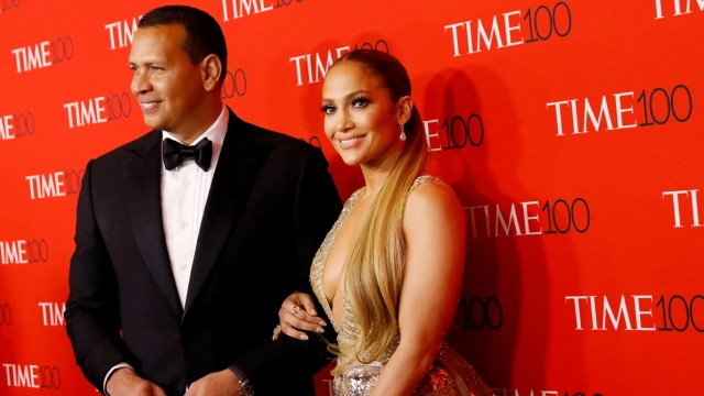 Alex Rodriguez and Singer Jennifer Lopez arrives for the TIME 100 Gala in Manhattan