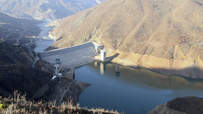 A view of the reservoir of the Fierza hydropower plant on the Drini River in the northern town of Bajram Curri