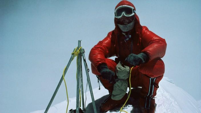 Reinhold Messner 1978 bei einer Expeditionen auf den Mount Everest - gemeinsam mit Peter Habeler stieg er als erster ohne Sauerstoffgerät auf den höchsten Gipfel der Erde.