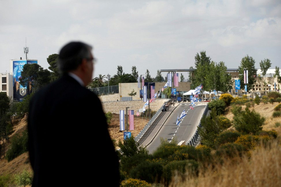 A man looks at the road leading to the new U.S. embassy in Jerusalem