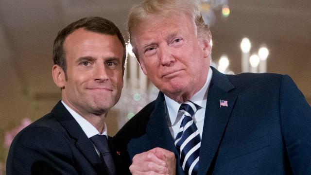 Donald Trump, Präsident der USA, und Emmanuel Macron, Präsident von Frankreich, im Weißen Haus Anfang Mai 2018.