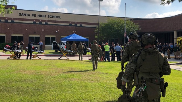 Law enforcement officers are responding to Santa Fe High School in this Harris County Sheriff office photo