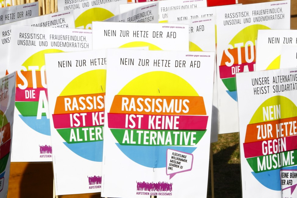 AfD Holds Demonstration, Counter-Demonstrators Protest