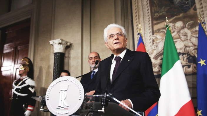 Italian President Mattarella speaks to media after a meeting with Italy's Prime Minister-designate Giuseppe Conte at the Quirinal Palace in Rome