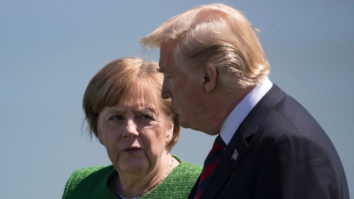 Bundeskanzlerin Angela Merkel und US-Präsident Donald Trump auf dem G-7-Gipfel 2018 in Kanada.