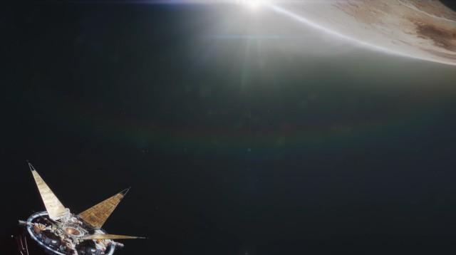 Ein Satellit fliegt an einem Planeten vorbei.