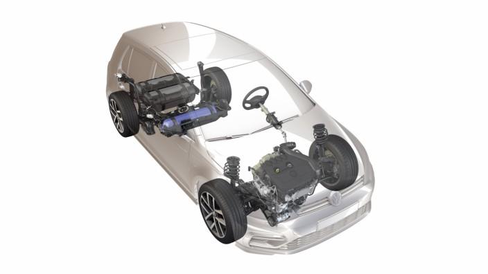 Röntgenbild des nächsten VW Golf TGI, ein Erdgasauto, das mit Compressed Natural Gas (CNG) angetrieben wird.