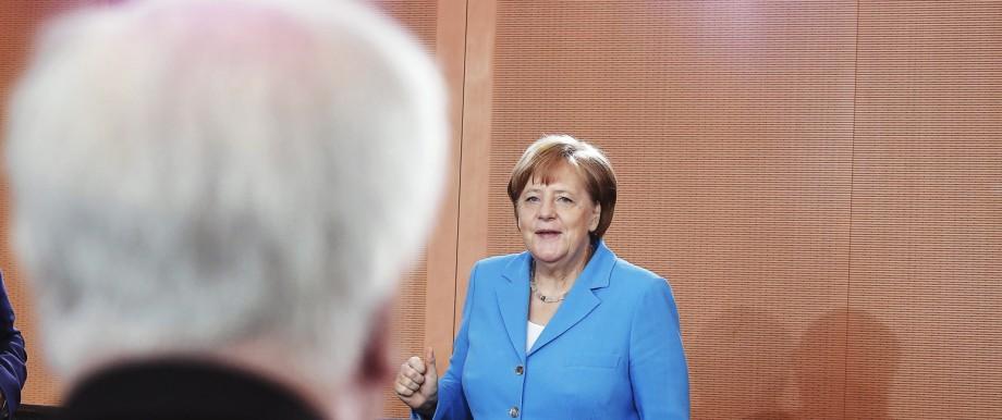 Merkel und Seehofer: Angela Merkel und ihr Koalitionspartner Horst Seehofer am Mittwoch im Kabinettssaal