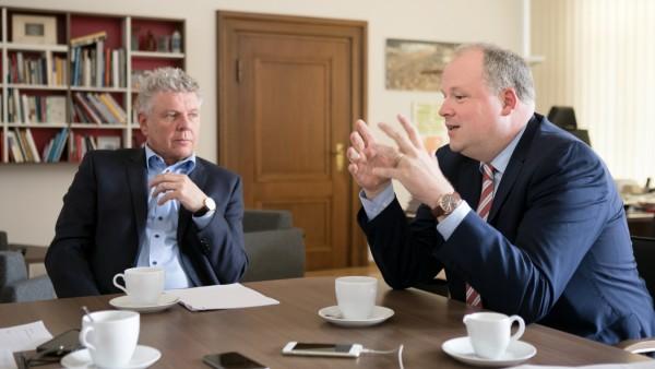 Doppelinterview mit Oberbürgermeister Dieter Reiter und  Landrat Christoph Göbel im Büro des OB im Rathaus München